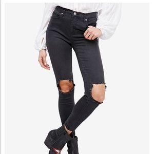 Free People Busted Black Faded Denim Skinny Jeans